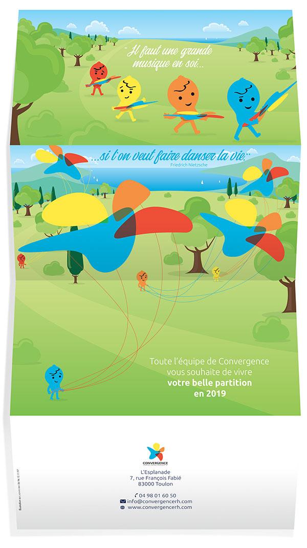 illustration conception graphique flat design carte de voeux
