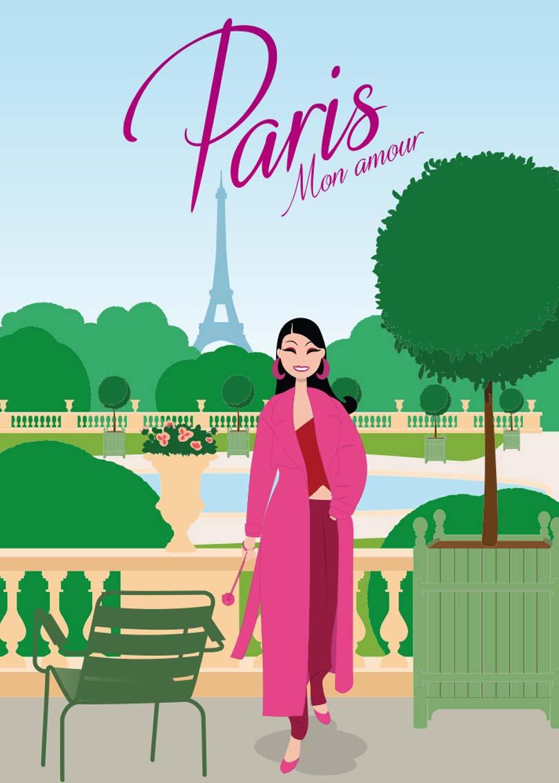 illustration vectoriel poster carte postale postcard Paris mon amour lad studio